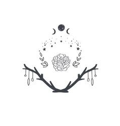 Magical boho pagan composition vector