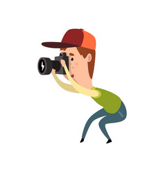 Male photographer with photo camera paparazzi vector
