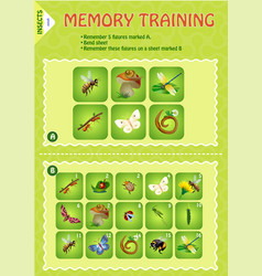 Memory game children insects vector