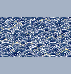 oriental wave ocean seamless wallpaper background vector image