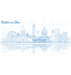 outline rostov-on-don russia city skyline with vector image