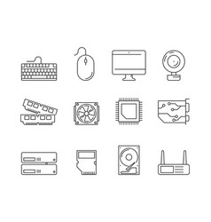 pc components icons processor ssd cpu power vector image