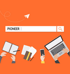 Pioneer search graphic for business vector