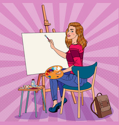 Pop art female artist painting at the studio vector