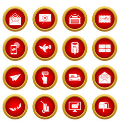 Poste service icon red circle set vector