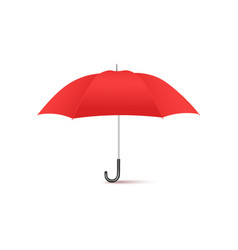 realistic red umbrella from side view - classic vector image