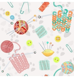 Retro seamless pattern with knitting accessories vector