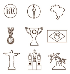 Rio gold medal burning torch and brazil flag icons vector image