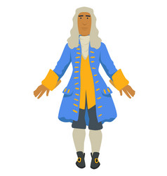 Rococo fashion style nobleman in wig and jacket vector