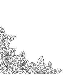 Rose bouquet corner decoration flower bud and vector