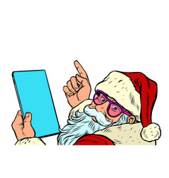 santa claus with a tablet new year and christmas vector image
