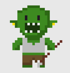 scary zombie green troll with arrow weapon pixel vector image