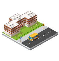 School isometric building study education vector