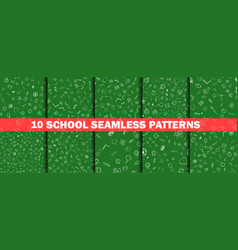school pattern on green chalkboard background vector image