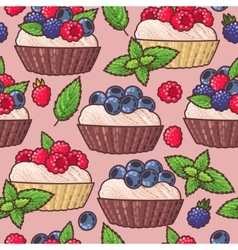 Seamless cakes vector