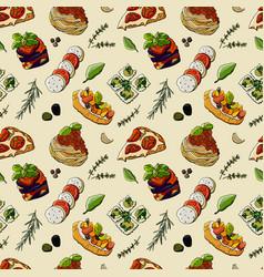Seamless pattern italian cuisine pizza carbon vector
