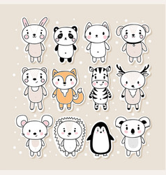 set cute hand drawn stickers with animals vector image
