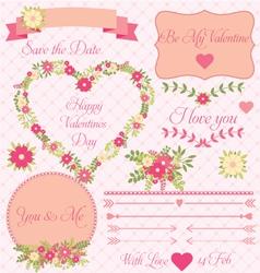 Set decorative valentines flower design vector