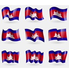Set of Cambodia flags in the air vector