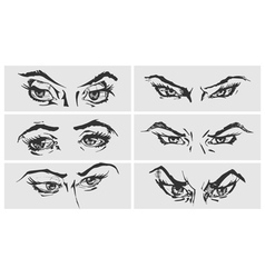 Set of female eyes vector
