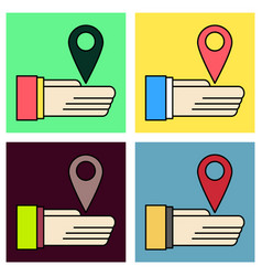 Set of geolocation bar sign hand holds city map vector