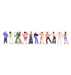 set of people from 80s man and woman dance disco vector image