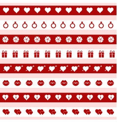 set of red and white valentines day icons vector image vector image