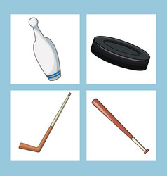 set sport equipment icon vector image