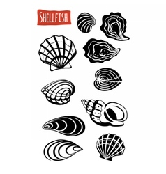 Shellfish black and white vector image