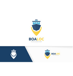 ship and map pointer logo combination boat vector image