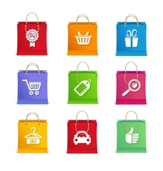Shopping icon set on shopping bag vector image