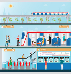 sky train station with people vector image