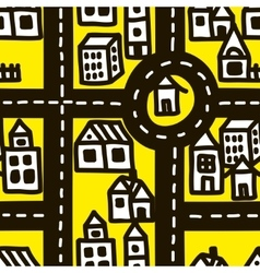 Small town roads seamless pattern vector