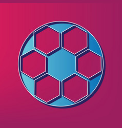 soccer ball sign blue 3d printed icon on vector image