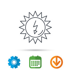 Solar energy icon ecological resources sign vector