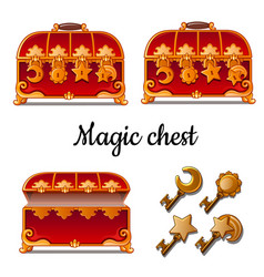 Three red chest with four locks and keys vector