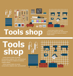Tools shop banners with instruments vector
