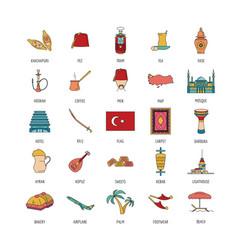 Turkey icons set cartoon style vector
