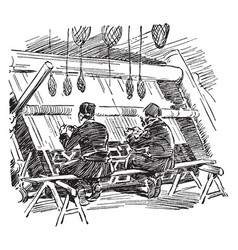 turkish rug weavers is a two turkish men weaving vector image