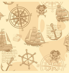 Vintage nautical seamless pattern hand drawing vector