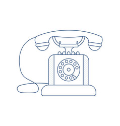 Vintage telephone in outline design vector