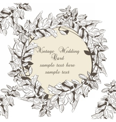 Vintage Wreath Floral Invitation card vector image