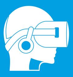 Vr headset icon white vector