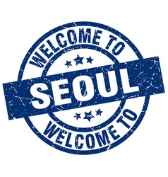 Welcome to seoul blue stamp vector