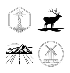 Windmill and lighthouse emblems deer silhouette vector image
