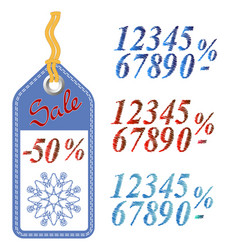 winter sale sticker with rope vector image