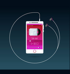 With a mobile phone in flat style with a musical vector