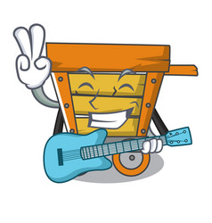 With guitar wooden trolley mascot cartoon vector