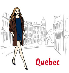 Woman in quebec vector