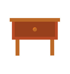 wooden bedside table on white background vector image